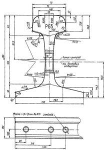 Чертеж рельс Р-65