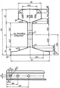 Чертеж рельсов Р-38
