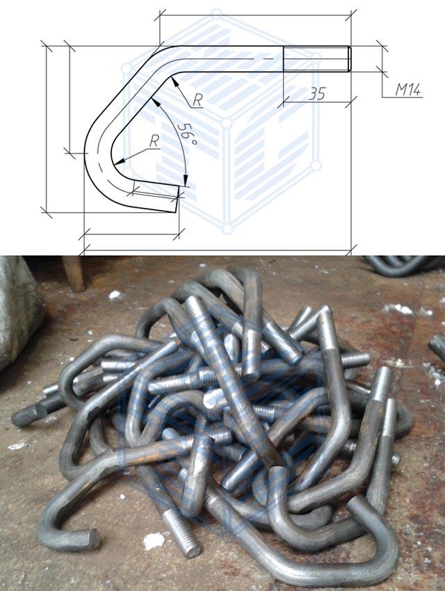 Стяжки-крючья М14 чертеж