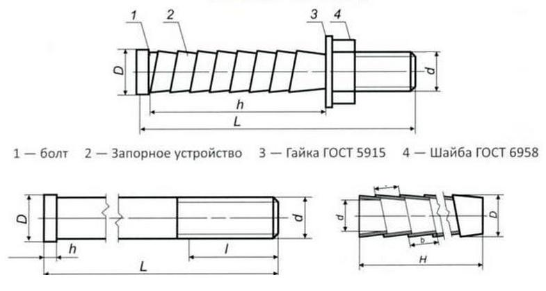 Чертеж-схема болтов БСР