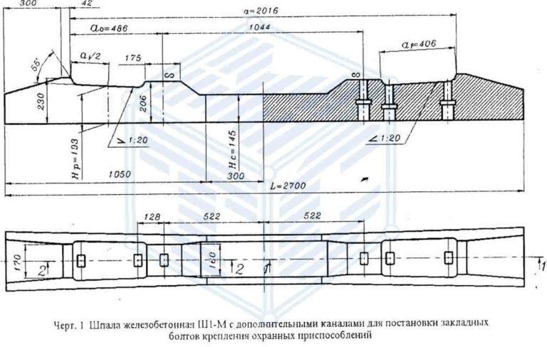 Шпала Ш1-М чертеж