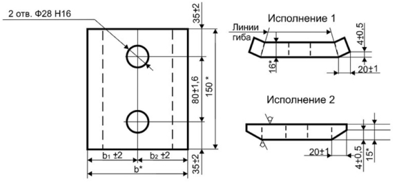 Прижимные планки П1, П2 для узла крепления крановых рельс. Чертеж.