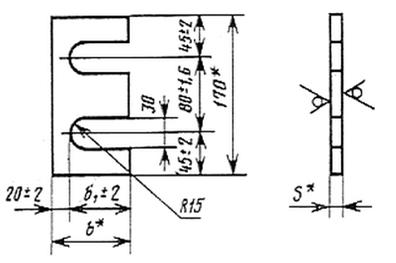 Упорная планка У1, У2, У3 для узла крепления крановых рельс - чертеж