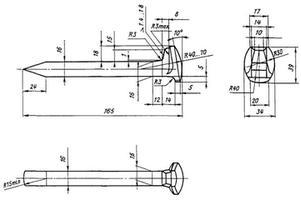 Путевой костыль К165х16х16 чертеж