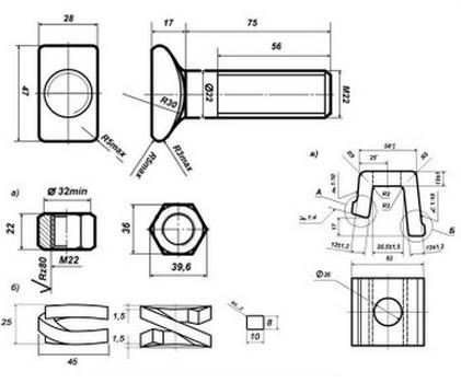 Болт клеммный М22х75 чертеж