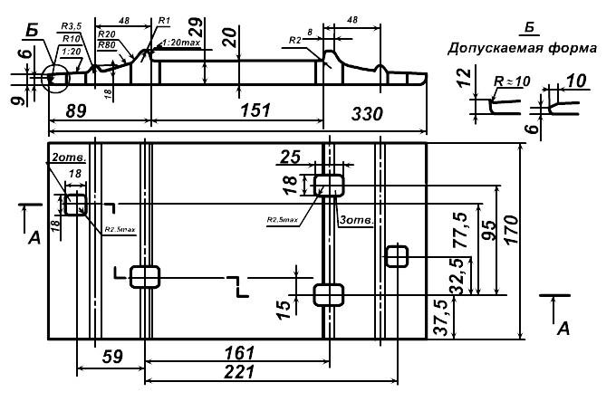 Подкладки СД-65 чертеж