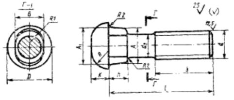 Болт стыковой М16х72 чертеж