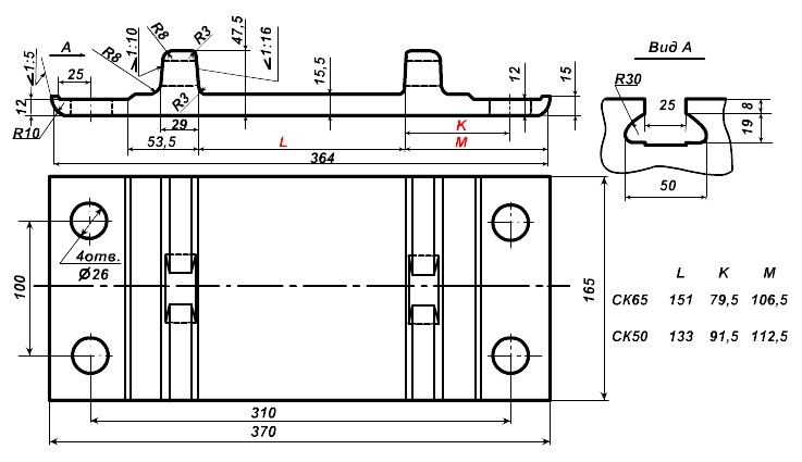 Подкладки СК-65, СК-50 чертеж