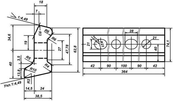 Чертеж рельсовых накладок Р-24